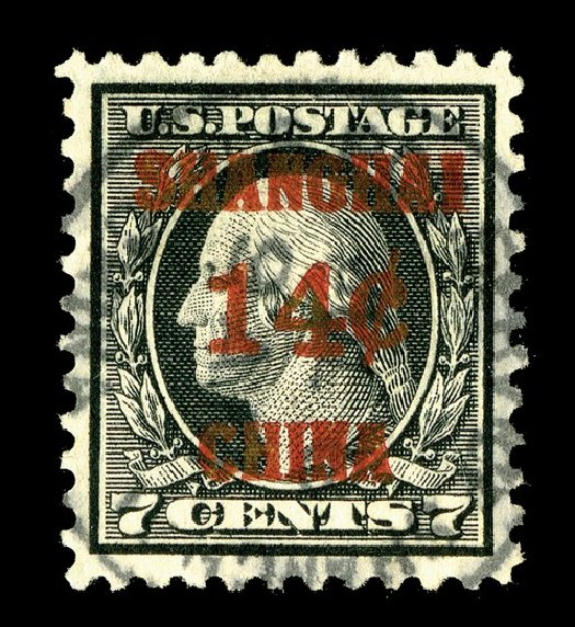 US Stamp Values Scott Catalog # K7 - 14c 1919 China Shanghai on 7c. Spink Shreves Galleries, May 2014, Sale 148, Lot 387