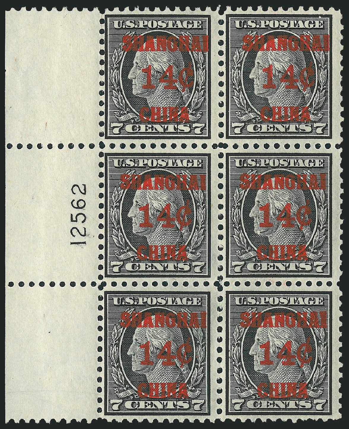 US Stamps Price Scott Catalog # K7 - 14c 1919 China Shanghai on 7c. Robert Siegel Auction Galleries, Mar 2015, Sale 1094, Lot 124