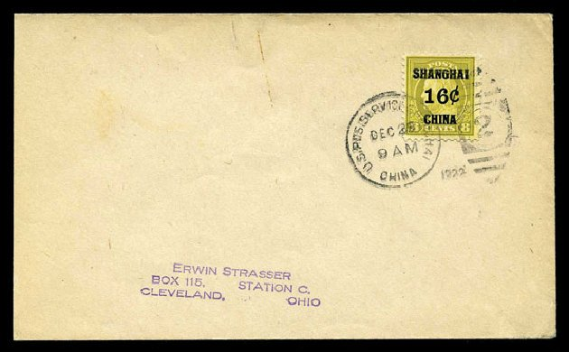 US Stamps Prices Scott Catalogue # K8: 1919 16c China Shanghai on 8c. Harmer-Schau Auction Galleries, Aug 2015, Sale 106, Lot 2129