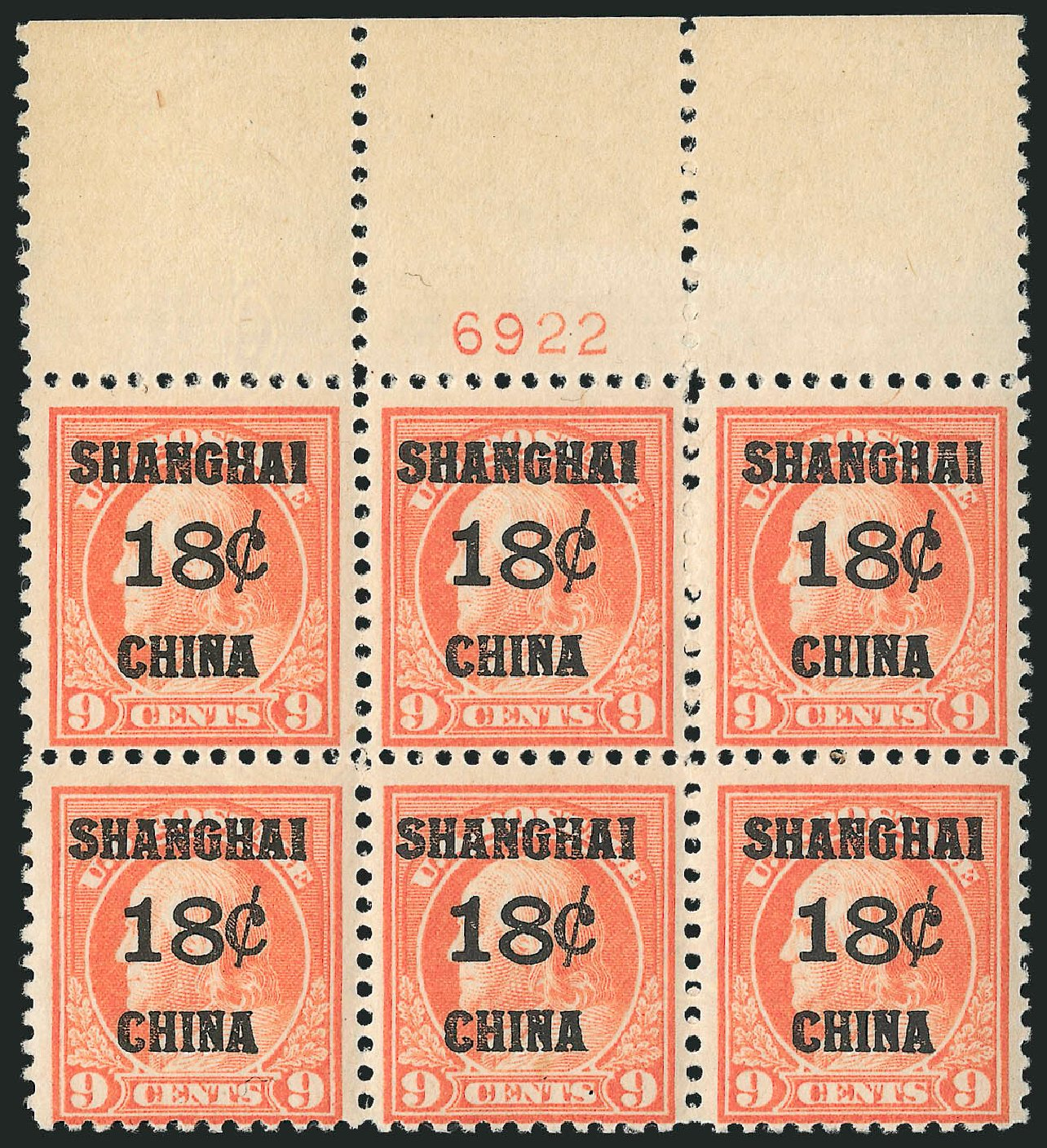 US Stamp Value Scott Catalog K9: 18c 1919 China Shanghai on 9c. Robert Siegel Auction Galleries, Apr 2015, Sale 1096, Lot 879