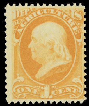 US Stamp Prices Scott Catalogue #O1 - 1873 1c Agriculture Official. Daniel Kelleher Auctions, May 2015, Sale 669, Lot 3327