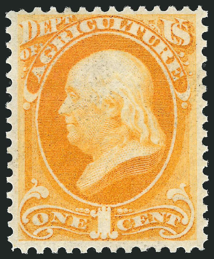 US Stamp Price Scott Catalogue O1 - 1873 1c Agriculture Official. Robert Siegel Auction Galleries, Oct 2012, Sale 1033, Lot 4297