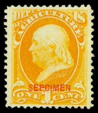 Costs of US Stamp Scott Cat. O1: 1873 1c Agriculture Official. Daniel Kelleher Auctions, May 2015, Sale 669, Lot 3328