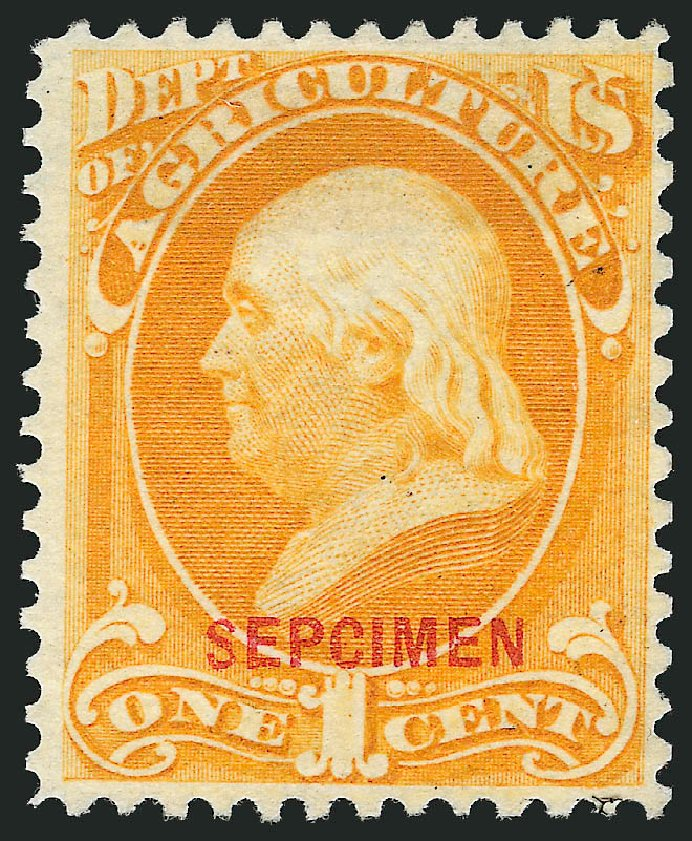 US Stamp Value Scott Cat. O1 - 1873 1c Agriculture Official. Robert Siegel Auction Galleries, Mar 2015, Sale 1095, Lot 518