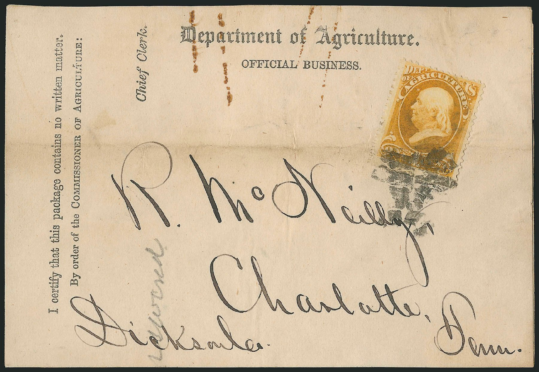 Cost of US Stamp Scott #O1 - 1873 1c Agriculture Official. Robert Siegel Auction Galleries, Nov 2014, Sale 1085, Lot 4019