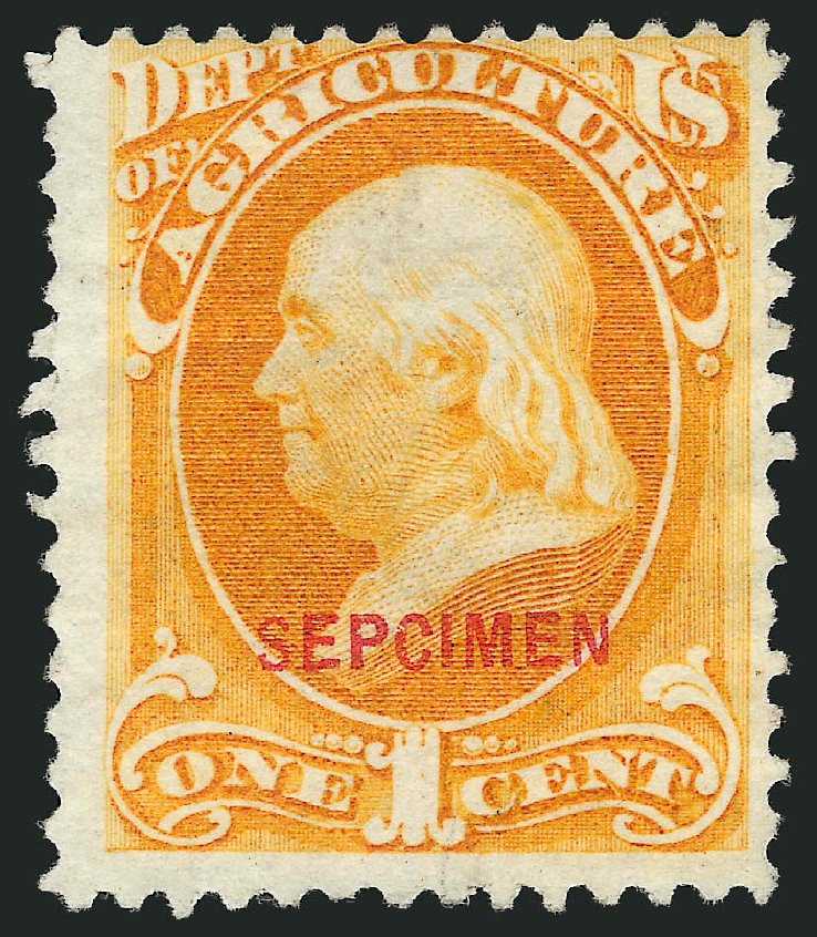 Costs of US Stamps Scott Cat. #O1 - 1c 1873 Agriculture Official. Robert Siegel Auction Galleries, Mar 2015, Sale 1095, Lot 519