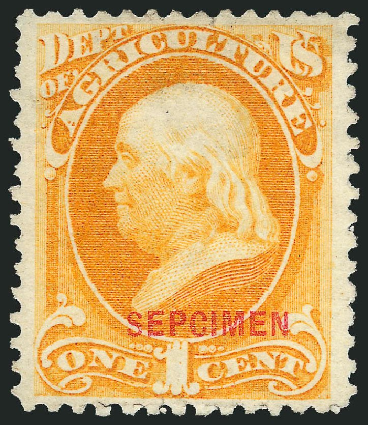 Values of US Stamp Scott Catalogue #O1 - 1c 1873 Agriculture Official. Robert Siegel Auction Galleries, Mar 2015, Sale 1095, Lot 520