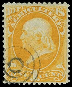 Values of US Stamps Scott Catalog O1 - 1c 1873 Agriculture Official. H.R. Harmer, Jun 2015, Sale 3007, Lot 3482