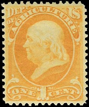 Price of US Stamp Scott Cat. # O1 - 1873 1c Agriculture Official. Regency-Superior, Nov 2014, Sale 108, Lot 1206