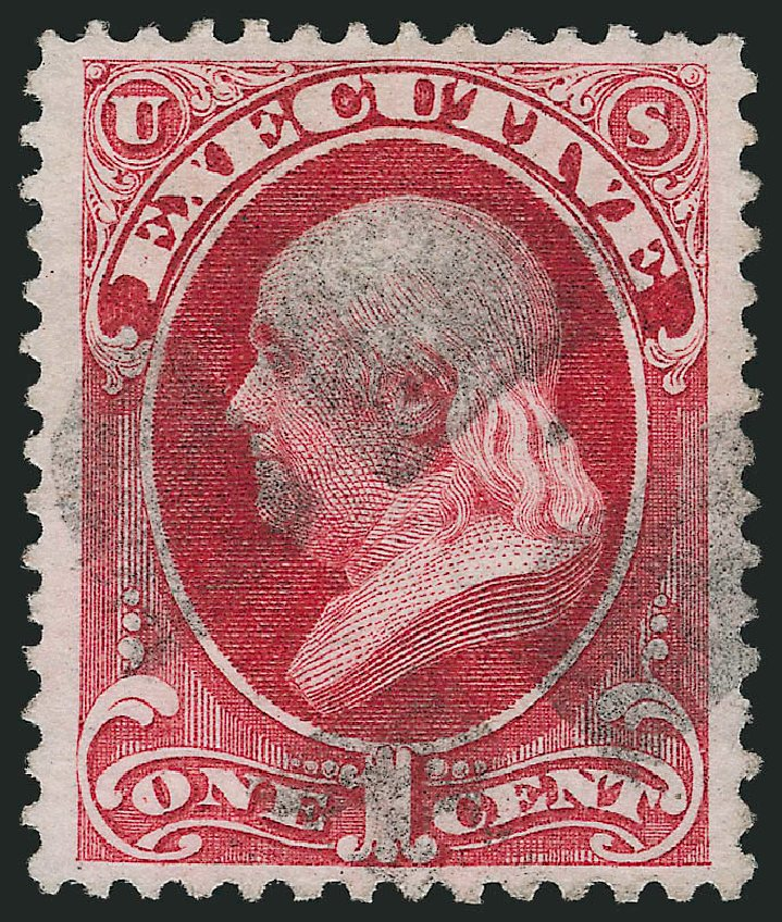 Values of US Stamp Scott O10 - 1873 1c Executive Official. Robert Siegel Auction Galleries, Nov 2014, Sale 1085, Lot 4027