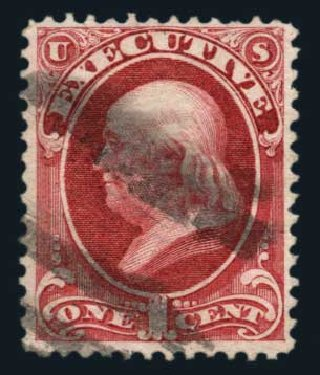 Costs of US Stamp Scott Catalog O10: 1873 1c Executive Official. Harmer-Schau Auction Galleries, Aug 2014, Sale 102, Lot 2198