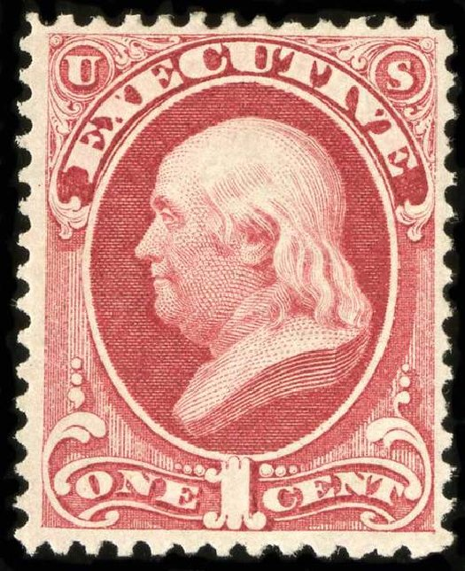Value of US Stamp Scott Catalog #O10: 1c 1873 Executive Official. Spink Shreves Galleries, Jul 2015, Sale 151, Lot 388