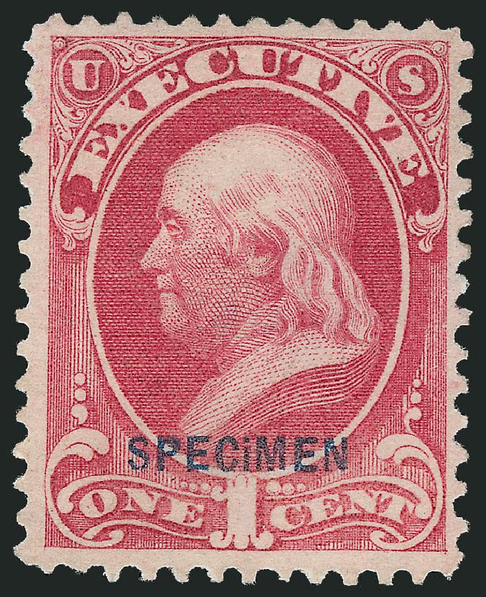 Cost of US Stamp Scott Catalog O10 - 1873 1c Executive Official. Robert Siegel Auction Galleries, Sep 2014, Sale 1078, Lot 670