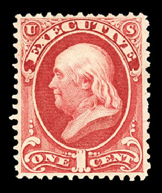 Cost of US Stamp Scott Catalogue # O10: 1c 1873 Executive Official. Cherrystone Auctions, Jul 2015, Sale 201507, Lot 2212