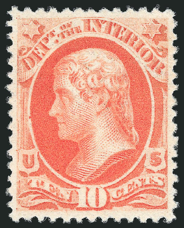 US Stamp Price Scott Catalogue # O100 - 10c 1879 Interior Official. Robert Siegel Auction Galleries, Nov 2013, Sale 1061, Lot 4188
