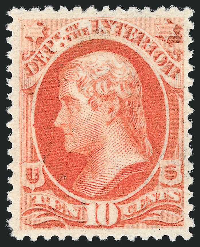 US Stamp Price Scott O100 - 10c 1879 Interior Official. Robert Siegel Auction Galleries, Nov 2013, Sale 1061, Lot 4189