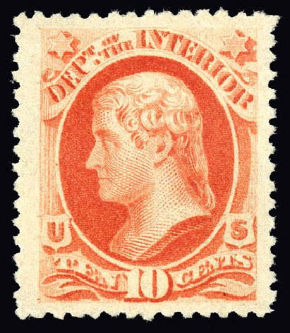 US Stamps Value Scott Catalog #O100 - 1879 10c Interior Official. Matthew Bennett International, Dec 2008, Sale 330, Lot 1930