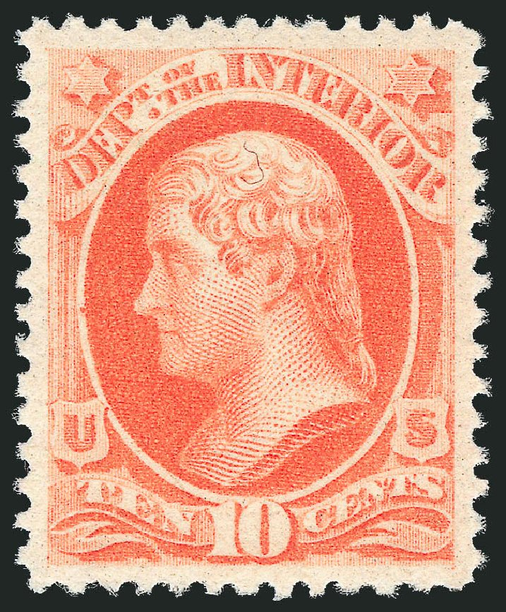 Price of US Stamp Scott # O100 - 10c 1879 Interior Official. Robert Siegel Auction Galleries, Dec 2011, Sale 1017, Lot 980