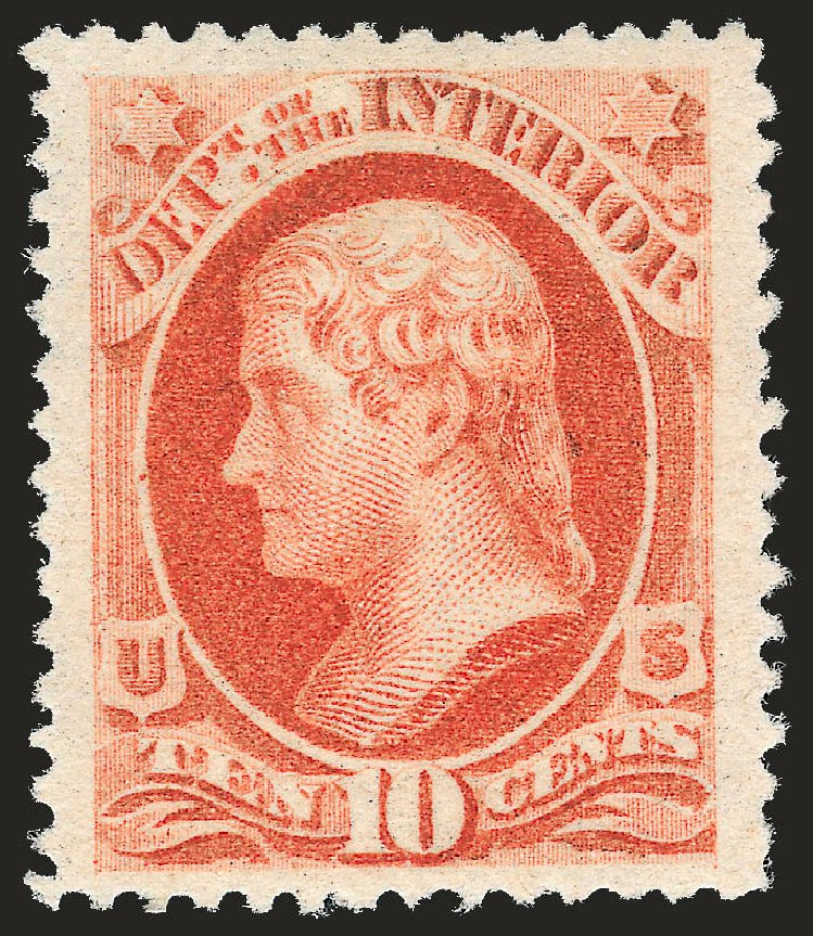 Price of US Stamp Scott Catalog O100: 10c 1879 Interior Official. Robert Siegel Auction Galleries, Dec 2008, Sale 967, Lot 5160