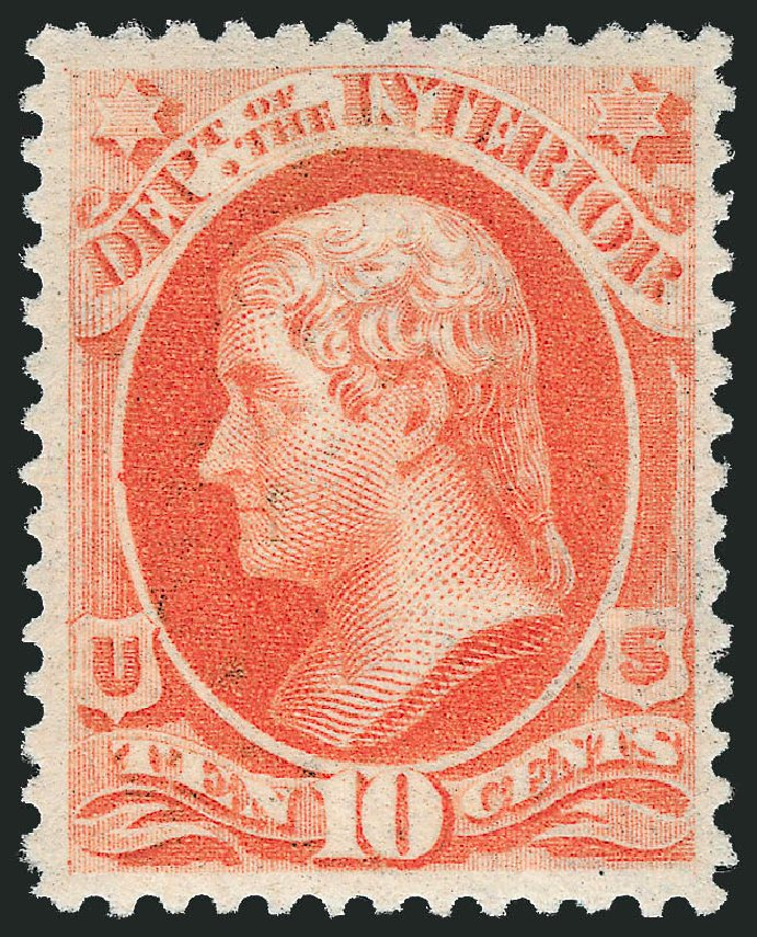 US Stamp Values Scott Catalogue # O100 - 1879 10c Interior Official. Robert Siegel Auction Galleries, Oct 2010, Sale 997, Lot 6290