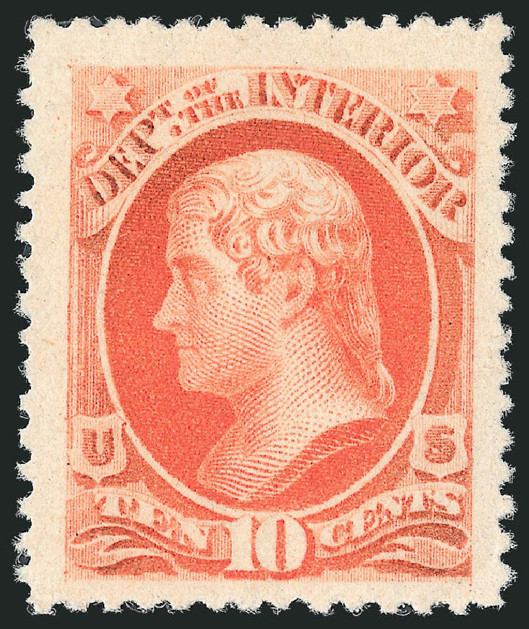 US Stamp Price Scott O100: 10c 1879 Interior Official. Robert Siegel Auction Galleries, Nov 2014, Sale 1085, Lot 4191