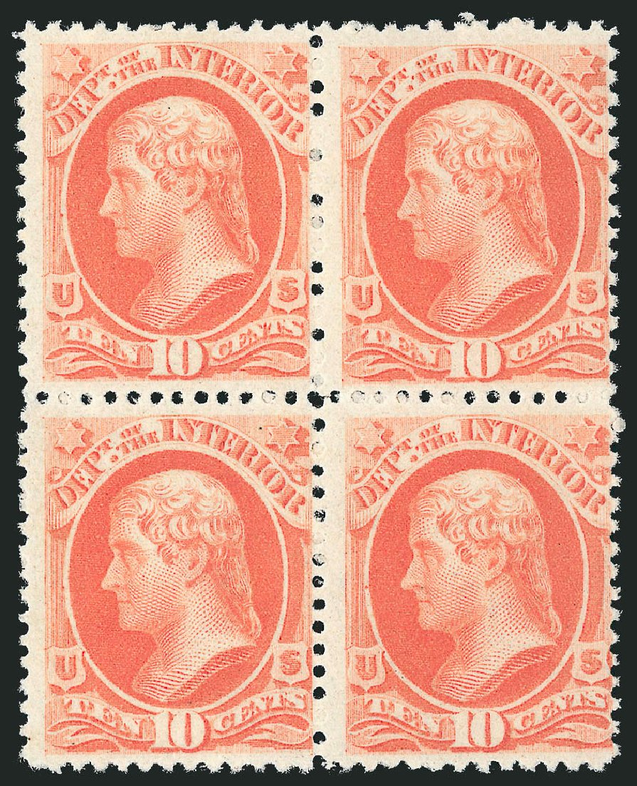 Price of US Stamps Scott # O100 - 10c 1879 Interior Official. Robert Siegel Auction Galleries, Nov 2014, Sale 1085, Lot 4192