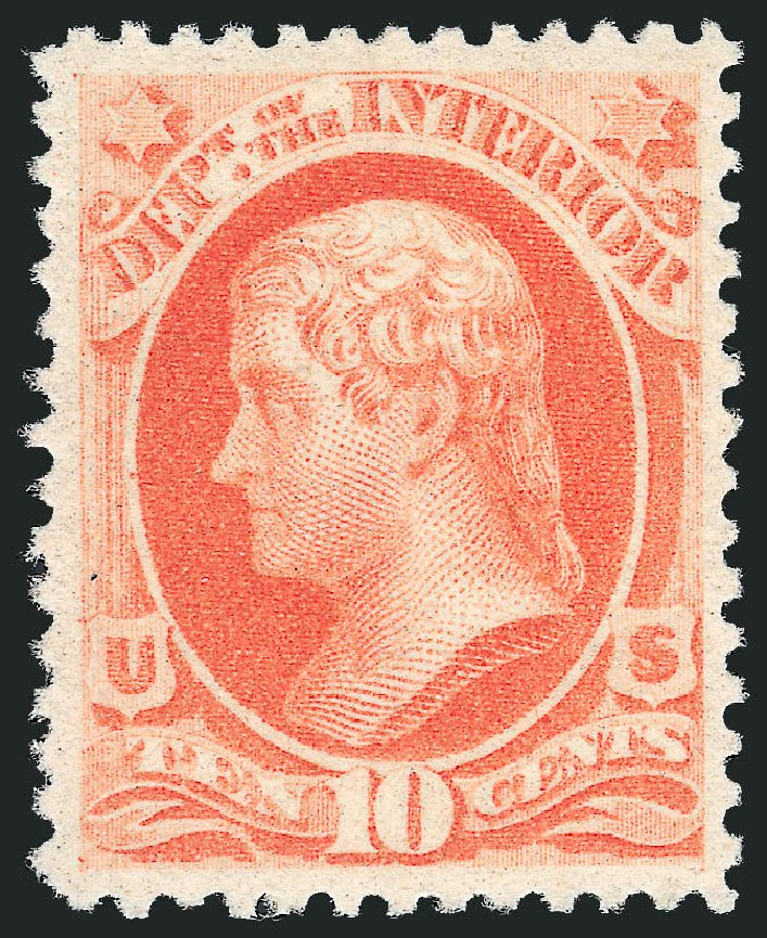 US Stamps Price Scott Catalog # O100: 1879 10c Interior Official. Robert Siegel Auction Galleries, Jun 2009, Sale 975, Lot 2242