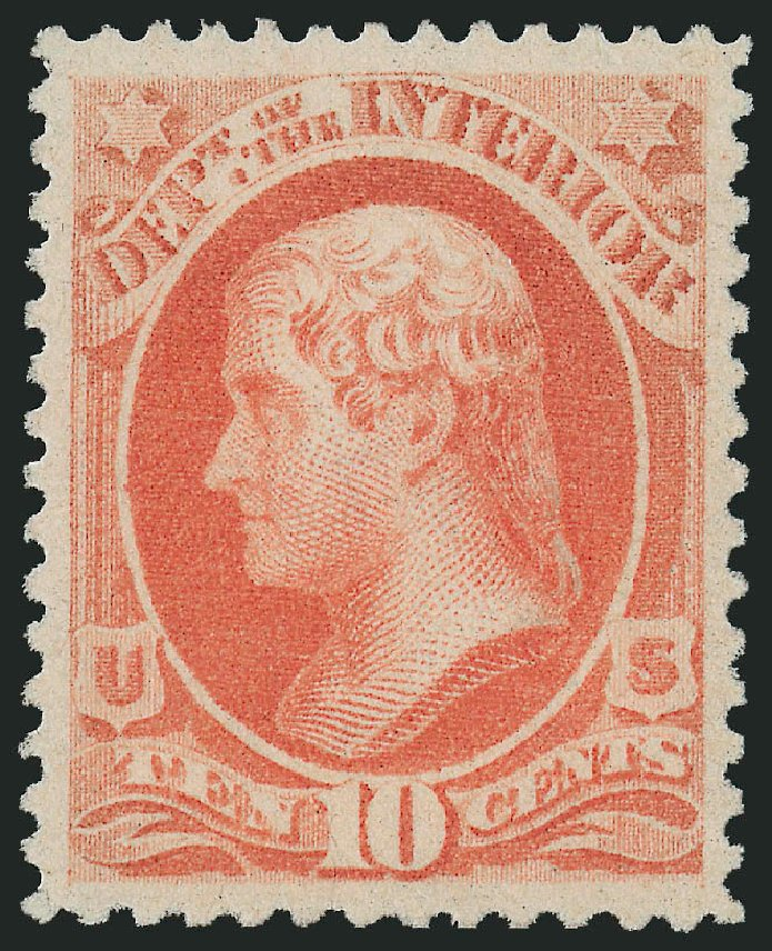 Value of US Stamp Scott Cat. #O100: 10c 1879 Interior Official. Robert Siegel Auction Galleries, Dec 2009, Sale 982, Lot 6143