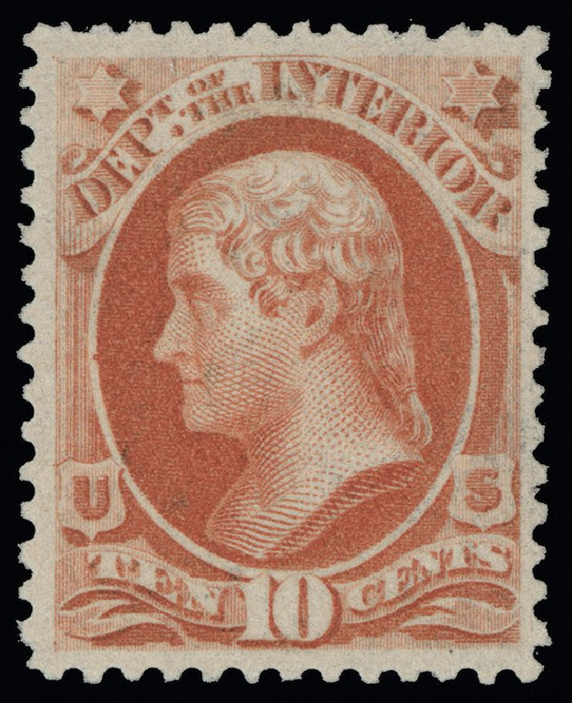 US Stamp Value Scott Catalog # O100 - 10c 1879 Interior Official. Spink Shreves Galleries, Aug 2013, Sale 144, Lot 356