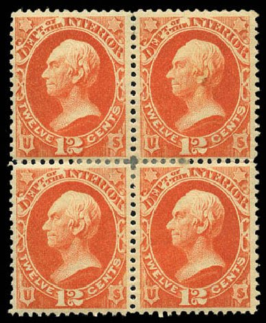 Value of US Stamp Scott Catalogue O101: 12c 1879 Interior Official. Matthew Bennett International, Mar 2011, Sale 337, Lot 3198