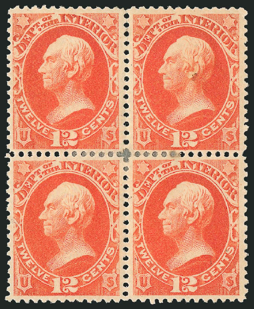 US Stamps Value Scott O101: 12c 1879 Interior Official. Robert Siegel Auction Galleries, Nov 2014, Sale 1085, Lot 4194