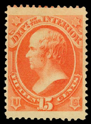 Value of US Stamp Scott Cat. #O102: 1879 15c Interior Official. Daniel Kelleher Auctions, Sep 2013, Sale 639, Lot 477