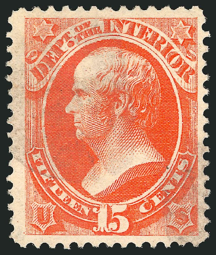 US Stamps Prices Scott Catalogue # O102: 15c 1879 Interior Official. Robert Siegel Auction Galleries, Nov 2014, Sale 1085, Lot 4197