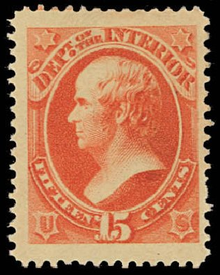 Values of US Stamps Scott Catalogue O102: 15c 1879 Interior Official. Daniel Kelleher Auctions, Oct 2012, Sale 632, Lot 1568