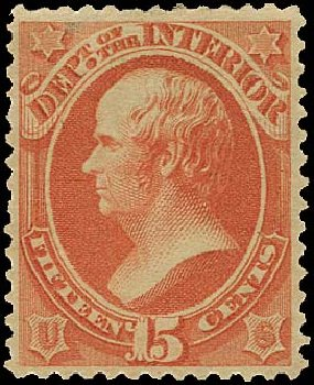 US Stamps Prices Scott Catalog #O102 - 15c 1879 Interior Official. Regency-Superior, Aug 2015, Sale 112, Lot 1199