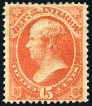 US Stamps Prices Scott #O102 - 1879 15c Interior Official. Harmer-Schau Auction Galleries, Feb 2010, Sale 84, Lot 1830