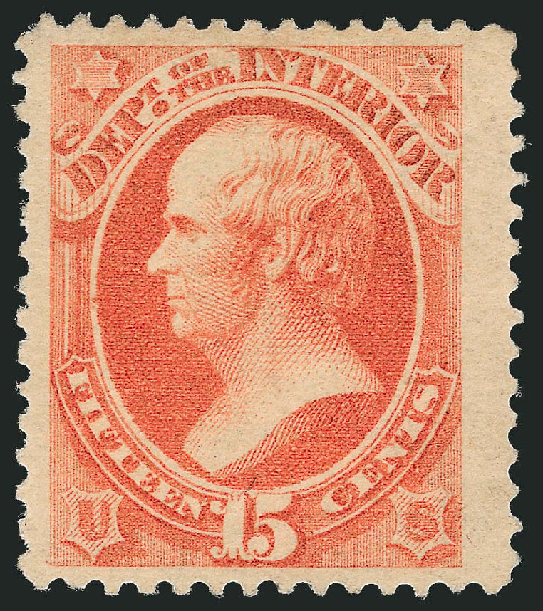 Value of US Stamps Scott Cat. #O102: 1879 15c Interior Official. Robert Siegel Auction Galleries, Oct 2010, Sale 997, Lot 6291