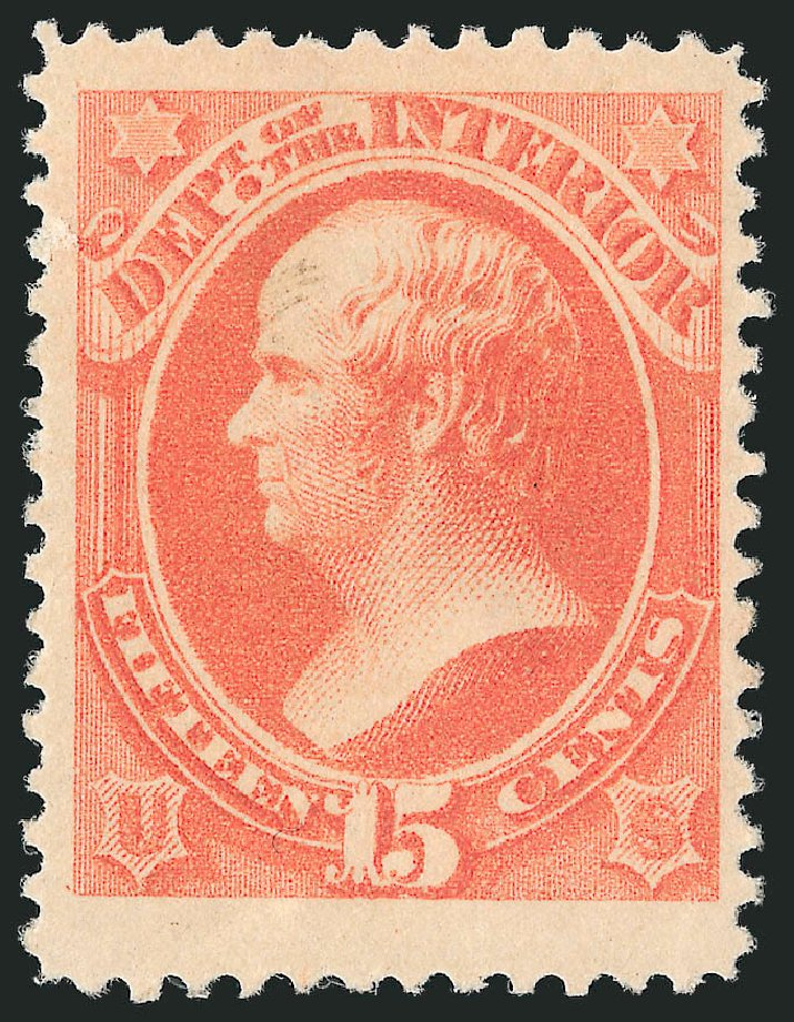 Cost of US Stamps Scott Catalog O102: 15c 1879 Interior Official. Robert Siegel Auction Galleries, Nov 2014, Sale 1085, Lot 4195