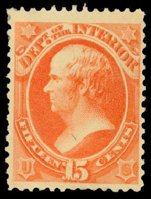 Values of US Stamps Scott Cat. #O102: 1879 15c Interior Official. Daniel Kelleher Auctions, Dec 2013, Sale 640, Lot 626