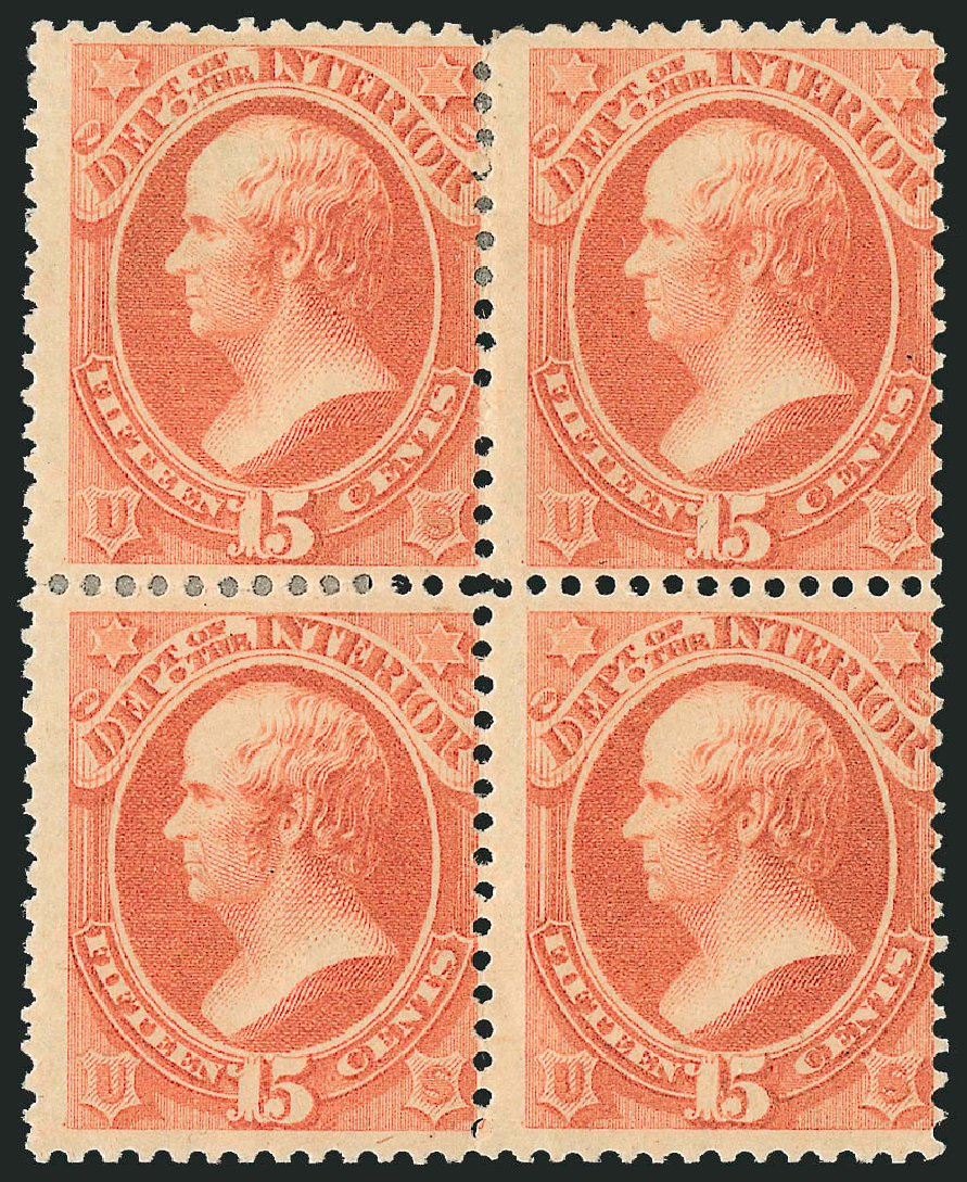Costs of US Stamp Scott Cat. #O102: 15c 1879 Interior Official. Robert Siegel Auction Galleries, Nov 2014, Sale 1085, Lot 4196