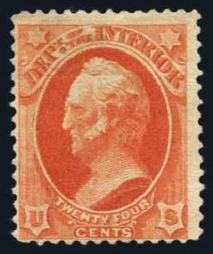 Cost of US Stamp Scott Catalogue O103: 24c 1879 Interior Official. Harmer-Schau Auction Galleries, Aug 2014, Sale 102, Lot 2207
