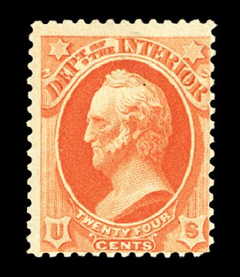Prices of US Stamps Scott # O103 - 1879 24c Interior Official. Cherrystone Auctions, Jul 2015, Sale 201507, Lot 2228