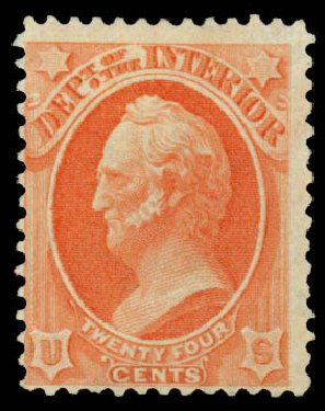 US Stamps Value Scott #O103 - 1879 24c Interior Official. Daniel Kelleher Auctions, Sep 2014, Sale 655, Lot 888
