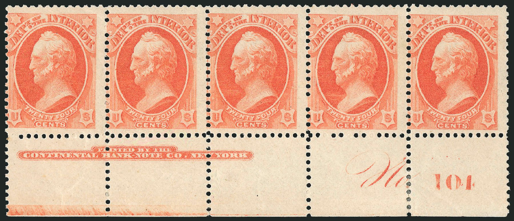 Cost of US Stamps Scott # O103: 24c 1879 Interior Official. Robert Siegel Auction Galleries, Nov 2014, Sale 1085, Lot 4199