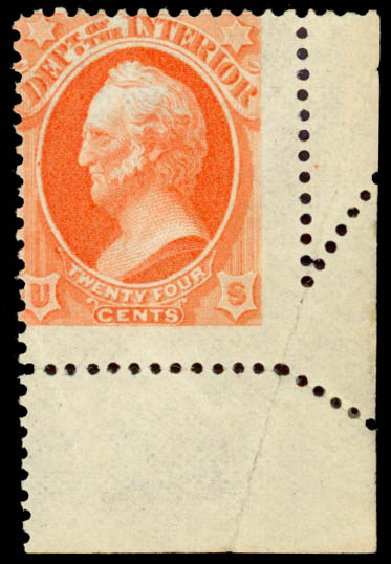 US Stamps Value Scott Catalog # O103 - 24c 1879 Interior Official. Daniel Kelleher Auctions, Aug 2015, Sale 672, Lot 3000