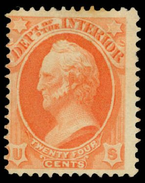 Prices of US Stamp Scott Catalog #O103: 1879 24c Interior Official. Daniel Kelleher Auctions, May 2015, Sale 669, Lot 3392