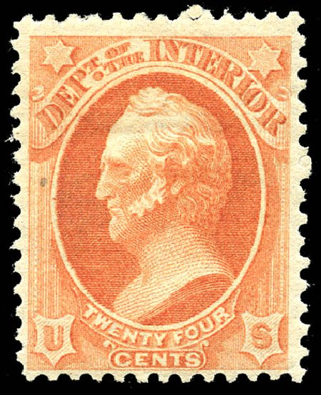 US Stamp Values Scott #O103: 1879 24c Interior Official. Matthew Bennett International, May 2014, Sale 350, Lot 696