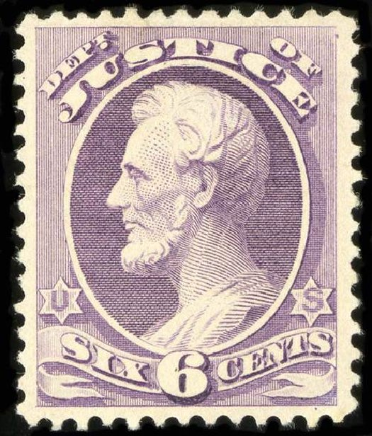 US Stamps Values Scott Catalog #O107: 6c 1879 Justice Official. Spink Shreves Galleries, Jul 2015, Sale 151, Lot 399
