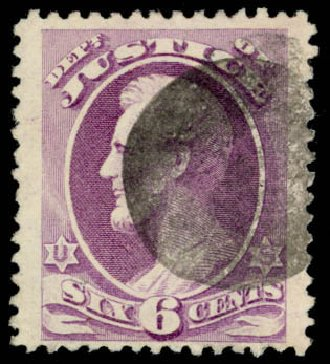 US Stamp Price Scott Catalogue O107: 1879 6c Justice Official. Daniel Kelleher Auctions, Sep 2013, Sale 639, Lot 3810
