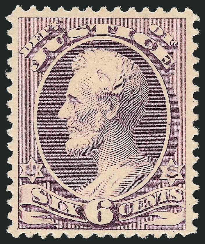 US Stamp Value Scott #O107: 1879 6c Justice Official. Robert Siegel Auction Galleries, Oct 2012, Sale 1033, Lot 4320